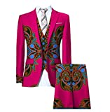 Men Set 3-Piece Dashiki Africa Blazer Pants Oversized Business Suit 1 M