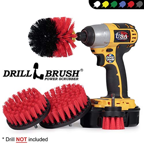 Drillbrush Stiff Bristle 4 Piece Drill Brush Nylon Cordless Drill Powered Spinning Brush Heavy Duty Scrubbing (Outdoor Cleaning Carpet)