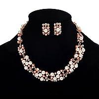 Broadfashion Bluelans Fiesta de la mujer Conjuntos de joyería para boda Elegante Chapado en oro rosa con perlas de imitación Collar de cristal Collar Pendientes conjunto