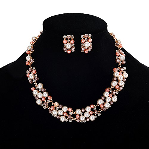 Bluelans Women's Party Wedding Jewellery Sets Elegant Rose Gold Plated Faux Pearl Crystal Collar Necklace Earrings - Set Pearls Gold Necklace