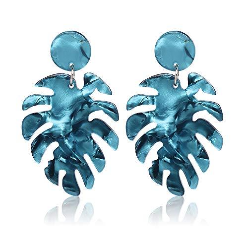 Acrylic Earrings for Women Drop Dangle Leaf Earrings Resin Minimalist Bohemian Statement Jewelry (Blue) (Beaded Baubles Christmas)