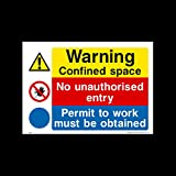 Warning confined space - No unauthorised entry - Permit Plastic Sign (MP28) - Danger, Caution, Flammable, Ear Protection, No Smoking, Harness, Men at work by USSP&S