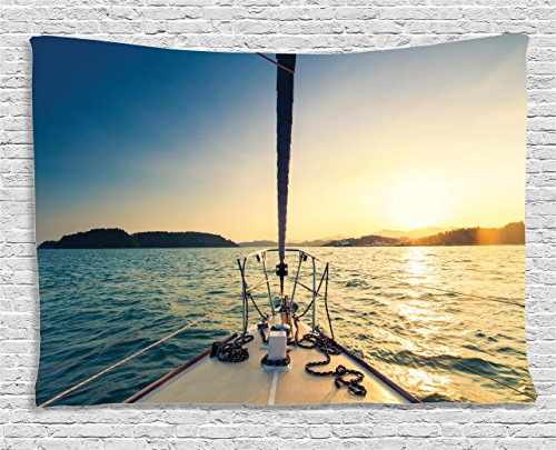 Ambesonne Sailboat Nautical Decor Collection, Nose Of Yacht Sailing In The Sea At Sunset Distant Hills Seaside Sun Reflections , Bedroom Living Room Dorm Wall Hanging Tapestry, 60W X 40L Inch