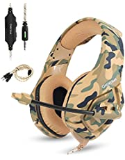 Zakitane Gaming Headset for PS4 Nintendo Switch Xbox One S PC Onikuma Gaming Headphones with Noise Canceling Mic Over Ear Volume Control (Yellow Camo Headset)