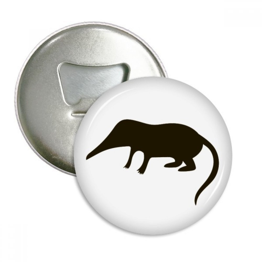 Black Shrew Animal Portrayal Round Bottle Opener Refrigerator Magnet Badge Button 3pcs Gift