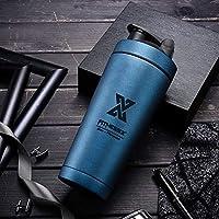 PLC020 700 ml roestvrijstalen proteïne-shaker, sport, fitness, shaker, eiwit, shaker, beker met kogel (Double Wall-Blue)