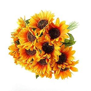 T4U Artificial Sunflowers 15PCS Faux Flowers Bouquet with Stems for Flowers Arrangement Wedding Bouquet Table Centerpieces Home Garden Party Decoration