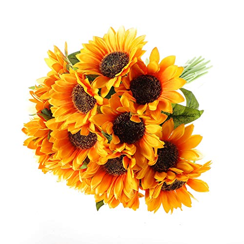 - T4U 15PCS Artificial Sunflowers Faux Flowers Bouquet with Stems for Flowers Arrangement Wedding Bouquet Table Centerpieces Home Garden Party Decoration