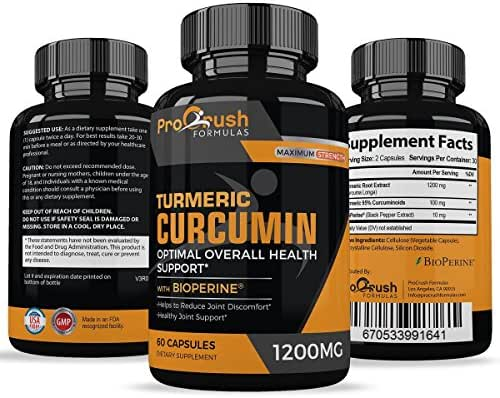 Turmeric Curcumin Supplement Maximum Strength - Anti-Inflammatory & Joint Pain Relief. Enhanced with Black Pepper for Better Absorption. All Natural, Non-GMO, Gluten Free Antioxidant Pills.