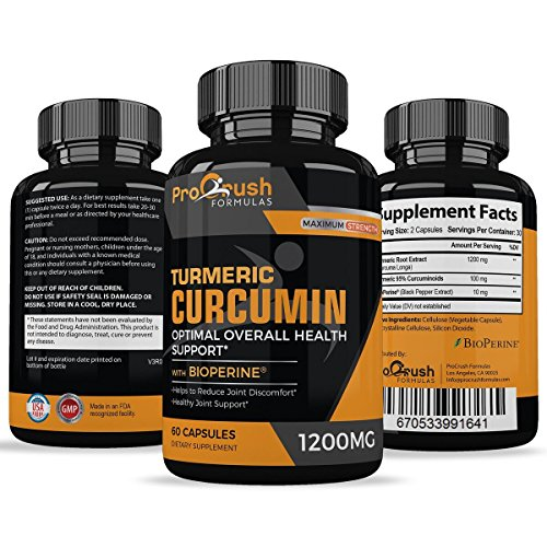 Turmeric Curcumin Supplement Maximum Strength - Anti-Inflammatory & Joint Pain Relief. Enhanced with Black Pepper for Better Absorption. All Natural, Non-GMO, Gluten Free Antioxidant Pills.