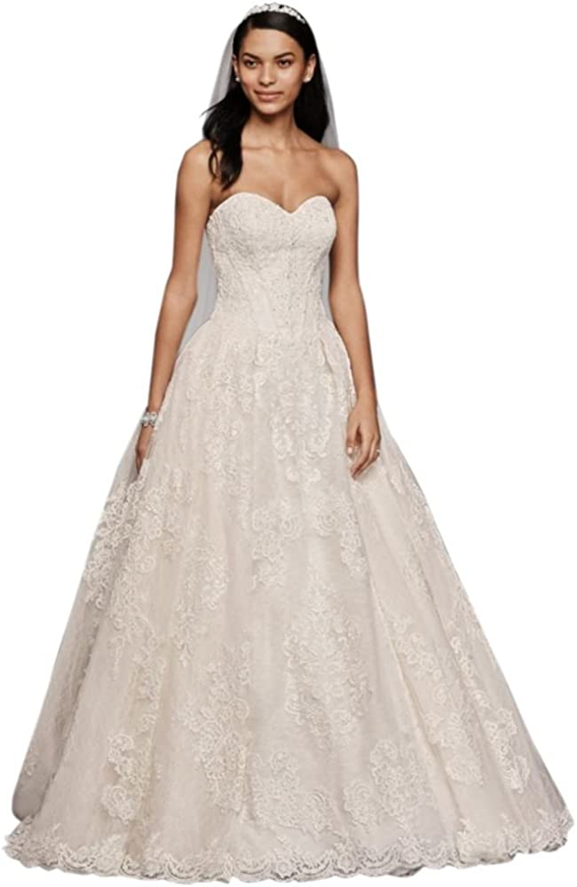 Oleg Cassini Wedding Ball Gown With Lace Appliques Style Cwg749 At