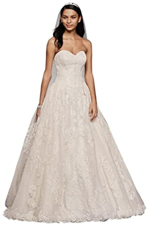 447e92c28373 Oleg Cassini Wedding Ball Gown with Lace Appliques Style CWG749 at Amazon  Women's Clothing store: