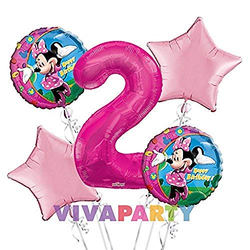 Minnie Mouse Balloon Bouquet 2nd Birthday 5 pcs - Party Supplies]()