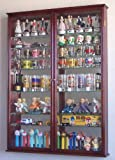 XL Shot Glass Display Case Rack Holder Cabinet w/ Mirror Backed and 11 Glass Shelves -Cherry
