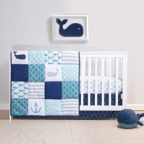 Nautical 4 Piece Whales Baby Crib Bedding Set - Patchwork Crib Bedding Collection