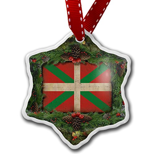 Christmas Ornament Basque Country (Spain) Flag with a vintage look - Neonblond by NEONBLOND