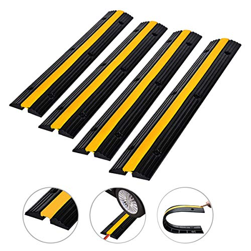 Cozylifeunion 4 Pack of 1-Channel Rubber Cable Protector Ramps Heavy Duty 18000Lbs Load Capacity Cable Wire Cord Cover Ramp Speed Bump Driveway Hose Cable Ramp Protective Cover (1-Channel, 4Pack)