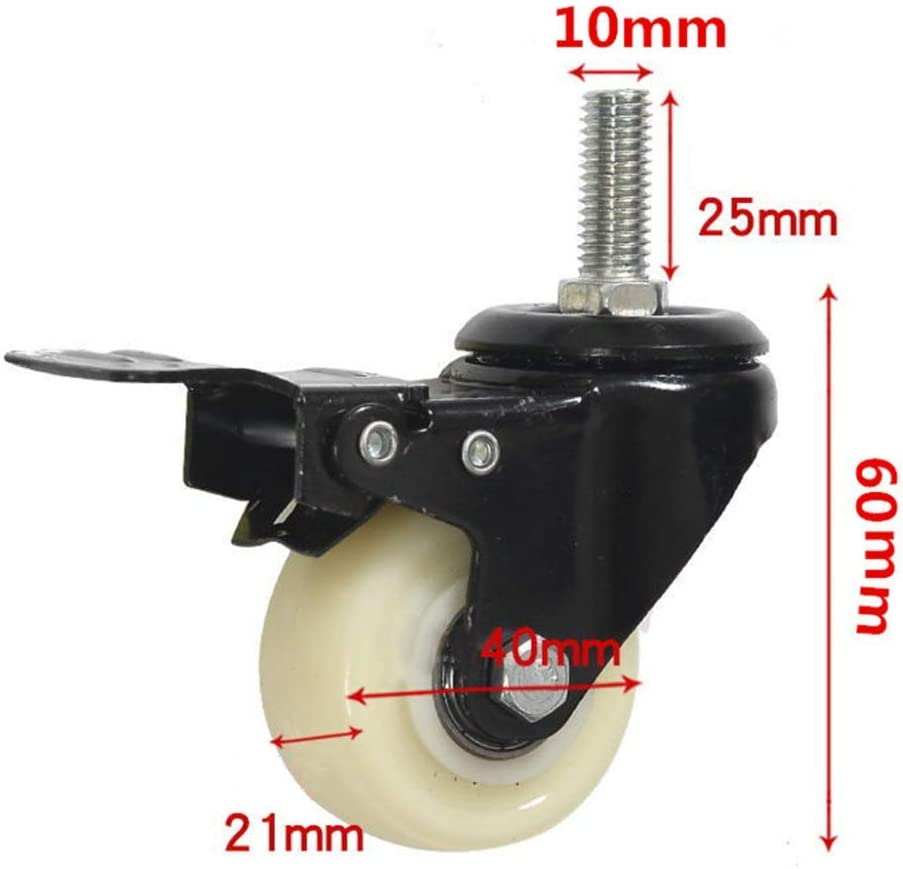 1.5in M10mm Casters,4 Pieces Medium Screw White Nylon Universal Furniture Casters,Electric Appliance Scaffold Trolley Industry Castor Wheels,Replace Accessories Superior Bracket//A