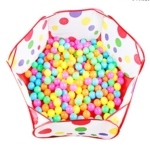 Hoop Diagonal (UNKE Foldable Cute Polka Dot Hexagon Play tent with Basketball Hoop-Indoor and Outdoor Balls Pool Easy Folding Kids Pit Balls Pool for Baby)