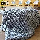JollyAndVector Chunky Knit Blanket Throw Handmade Bulky Yarn Bulky Knitting for Bedroom Decor Bed Chair Sofa Pet Mat Rug (Grey, 47''X70'')