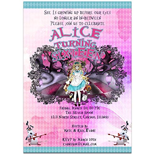 Fairy Tales Alice in Wonderland Birthday Party Invitations