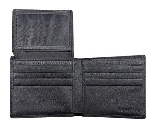 Skyhill Genuine Black Leather RFID Blocking Wallets Mens Wallet (black) 1...
