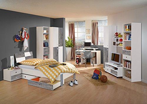 Jugendzimmer, komplett, Set, Jungen, Mädchen, Jugendzimmermöbel, Kinderzimmer, Kinderzimmermöbel, Jugendmöbel, Kleiderschrank, Bett, Alpinweiß, Beton