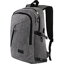 "Laptop Backpack, Travel Computer Bag for Women & Men, Anti Theft Water-resistent College School Bookbag, Slim Business Backpack w/ USB Charging Port Fits UNDER 17"" Laptop & Notebook by Mancro (Grey)"