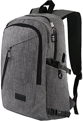 Laptop Backpack, Travel Computer Bag for Women & Men, Anti Theft Water Resistant College School Bookbag, Slim Business Backpack w/ USB Charging Port Fits UNDER 17″ Laptop & Notebook by Mancro (Grey)
