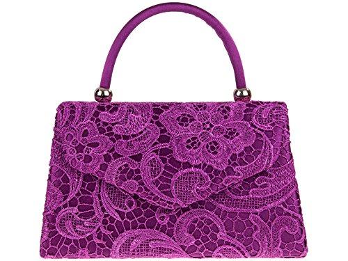 Petit Violet De Femmes Femmes Main purple Sac Rigide Fête Cuir À Pochette Mariage Faux Bal Soirée lace Vernie rqZqIO