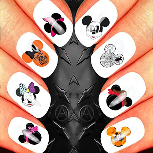 Scary Disney Mickey Mouse Halloween Heads Nail Art Waterslide Decals Assortment! - Salon Quality ()