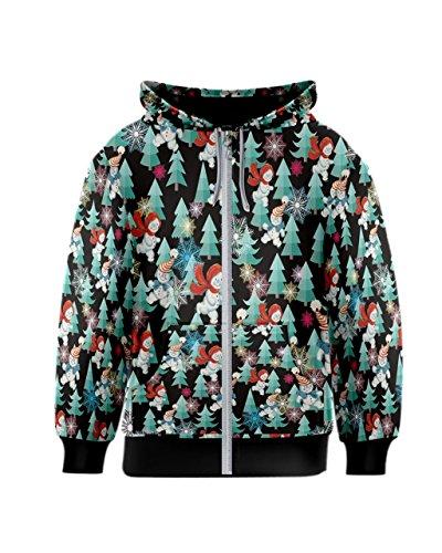PattyCandy Girls Black Snowman & Christmas Tree Kids Zipper Hoodie - (Child Christmas Tree Hooded Sweatshirt)