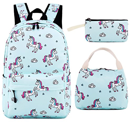 Girls Teens Bookbag Cute School Bag Set Water Resistant Travel Daypack (Light Blue Unicorn) ()