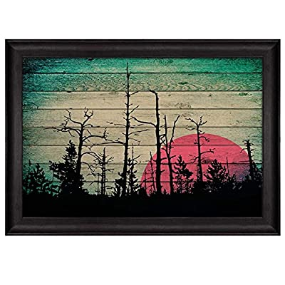 Silhouette of Trees in The Forest with The Sunset Behind it Over Wooden Panels Nature Framed Art, That You Will Love, Gorgeous Handicraft
