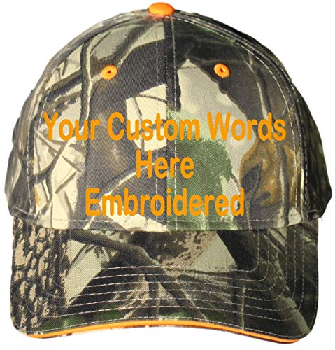 Custom Hat, Embroidered. Your Own Text. Adjustable Back. Curved Bill (Leaf Orange Camo Sandwich) ()