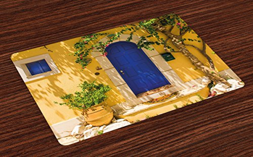 Ambesonne Yellow And Blue Place Mats Set Of 4 Traditional Greek House Door With Flowers
