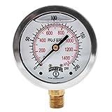 """Winters PFQ806LF PFQ-LF Series Pressure Gauge, 2.5"""" Dial Size, 1/4"""" NPT, 0/200 psi/kpa, Glycerin Filled"""