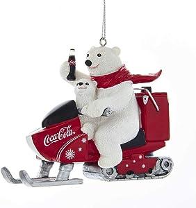 Kurt Adler Coca-Cola Polar Bear With Cub Riding Snow Mobile Ornament