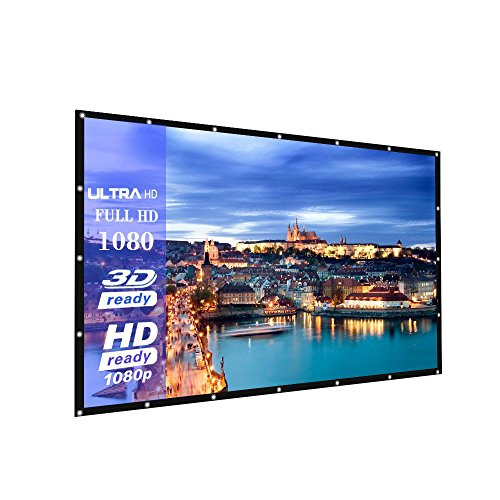 100-Inch outdoor Projector Screen PVC Fabric,16:9 Portable Projector Screen - Suitable for HDTV/Sports/Movies/Presentations (100 inch)