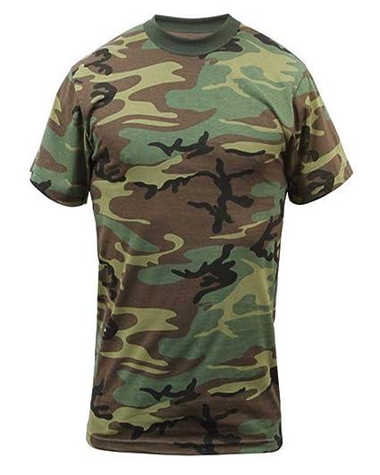 Amazon.com  Woodland Camouflage Short Sleeve T-Shirt w  Pocket ... a3154c140525