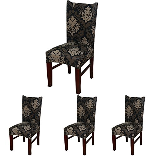 (ColorBird European Style Spandex Fabric Chair Slipcovers Removable Universal Stretch Elastic Chair Protector Covers for Dining Room, Hotel, Banquet, Ceremony (Set of 4, Black/Brown Damask))