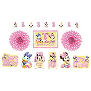 American Greetings Minnie Mouse First Birthday Room Decorating Kit, Party Supplies