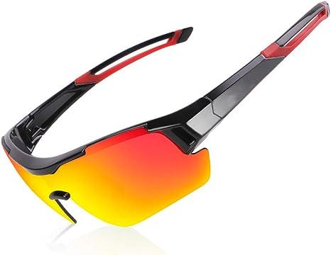 WZYU Gafas De Sol, Gafas De Bicicleta Bicicleta De Deportes Al Aire Libre, Gafas Bicicleta, Adecuados para El Ciclismo, Correr, Escalada, Pesca, Golf Masculino,Rojo: Amazon.es: Deportes y aire libre