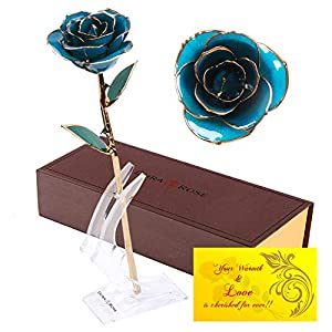 DuraRose Authentic Rose with Stand and Love Card, Stem Dipped in 24k Gold - Best Gift for Loves Ones. Ideal for Valentine's Day, Mother's Day, Anniversary, Birthday, 87