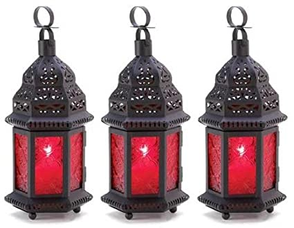 set of 3 black red moroccan candle holder lanterns lights outdoor christmas holiday party decorations