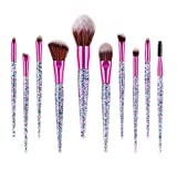 Glitter Makeup Brushes Set Professional Make up Brush Foundation Blending Blush Eyeliner Eye shadow Eyebrow Face Powder Makeup Brush with Case Beauty Cosmetic Tools