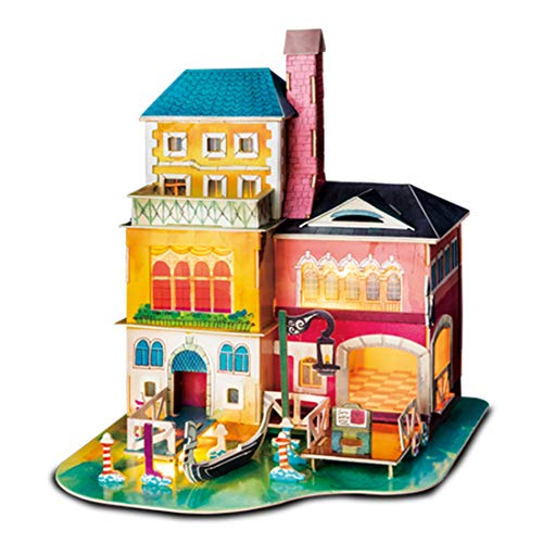 Rolife 3D Wooden Puzzle,LED House Model,Miniature DIY Dollhouse Decorations-City Architecture 3D Puzzle Series-Best Birthday Gifts for Women and Girls (Midsummer in Venice)