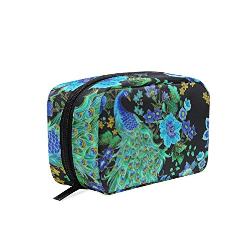(Portable Organizer Makeup bag,Enchanted Plume Beautiful Peacock Black Cosmetic Bags Multi Compartment Travel Pouch Storage for Women)