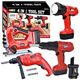JOYIN 4-in-1 Realistic Construction Tool Toy Electric Tool Playset Construction Pretend Play STEM Tool Toy Kit with Working Functions Including Flashlight, Saw Tools and Electric Drill