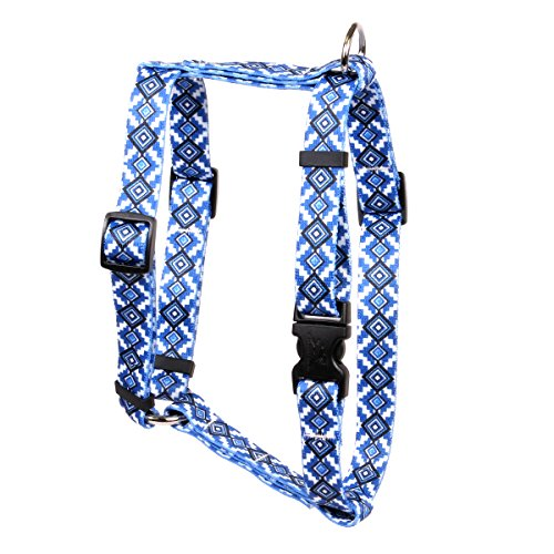 Yellow Dog Design Aztec Blue Roman Style H Dog Harness Fits Chest Circumference of 8 to 14